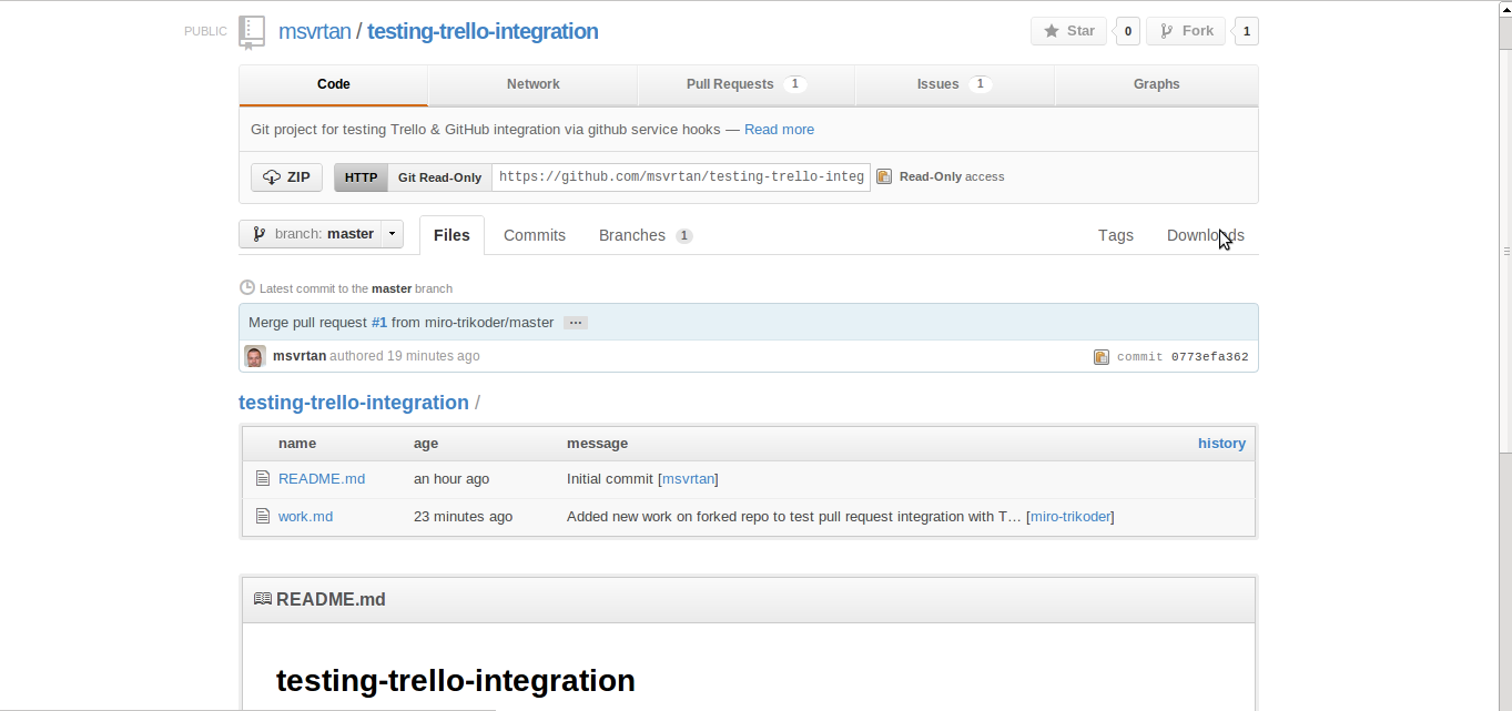 github project for testing trello integration