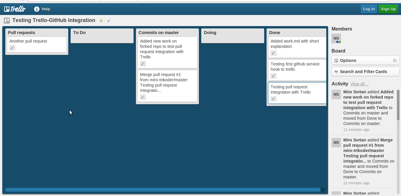 Trello board for testing integration